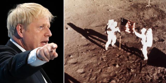 Boris Johnson/bild från när den amerikanska flaggan placeras på månen. TT