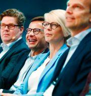 Gunnar Strömmer, Ulf Kristersson och Elisabeth Svantesson. Arkivbild. Thomas Johansson/TT / TT NYHETSBYRÅN