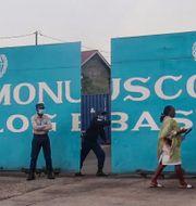 FN-basen dit den italienska ambassadören fördes efter attacken. Justin Kabumba / TT NYHETSBYRÅN