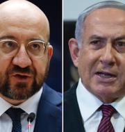 Hassan Rouhani, Charles Michel och Benjamin Netanyahu.  TT