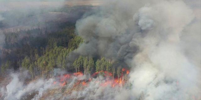 Flygbild över branden den 12 april. REUTERS TV / TT NYHETSBYRÅN