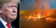 Donald Trump/Resterna efter Soleimanis bilkonvoj. TT