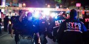 Platsen i Brooklyn där flera poliser skadades vid ett ingripande. Frank Franklin II / TT NYHETSBYRÅN