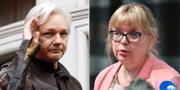 Vänster: Julian Assange. Till höger: Vice överåklagare Eva-Marie Persson.  TT