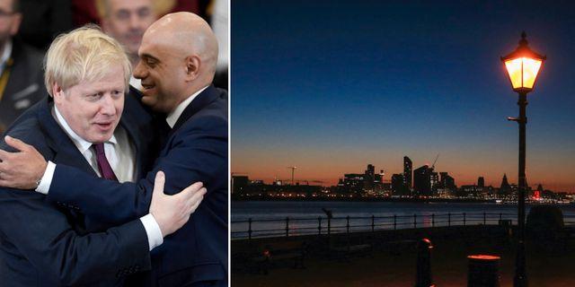 Boris Johnson och finansministern Sajid Javid, soluppgång i röda Liverpool. TT