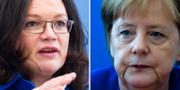 Socialdemokraternas partiledare Andrea Nahles/förbundskansler Angela Merkel TT