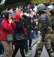 Demonstranter möter polis i Minsk.  TT NYHETSBYRÅN
