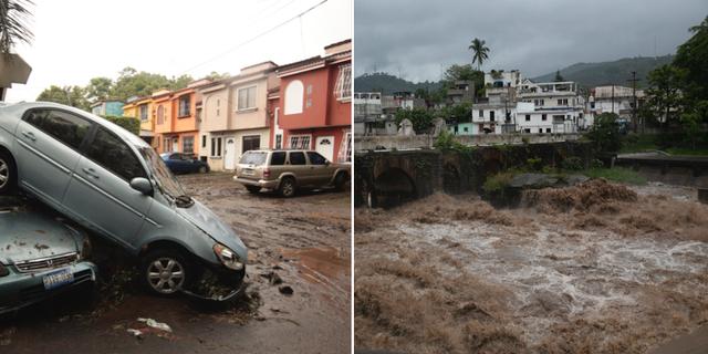 Stormen Amanda slår hårt mot El Salvador och Guatemala.  TT