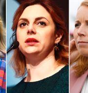 Ebba Busch Thor/Paula Bieler/Annie Lööf. Arkivbilder. TT