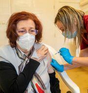 En kvinna får det ryska vaccinet. Tibor Rosta / TT NYHETSBYRÅN
