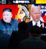 Kim Jong-Un och Joe Biden. Ahn Young-joon / TT NYHETSBYRÅN