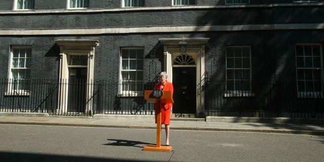 Theresa May håller sitt avskedstal.  Yui Mok / TT NYHETSBYRÅN/ NTB Scanpix