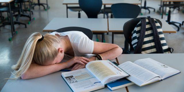 Arkivbild på trött elev.  Roald, Berit / TT NYHETSBYRÅN