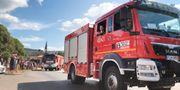 Konvojen av med polska brandbilar passerar Rättvik på väg norrut. Människor jublar och applåderar utefter vägen. Lisa Abrahamsson /TT / TT NYHETSBYRÅN