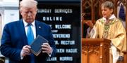 Donald Trump utanför St. John-kyrkan i Washington DC/Biskop Mariann Budde. TT