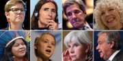 Finlands miljöminister Krista Mikkonen, Carolina Schmidt, John Kerry/Jennifer Morgan, Greenpeace/urfolksrepresentanten Sonia Guajajara/Greta Thunberg/Laurence Tubiana/Antonio Guterres. TT