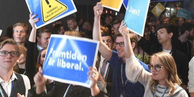 Liberalernas valvaka på Clarion hotel i Stockholm under valkvällen. Fredrik Sandberg/TT / TT NYHETSBYRÅN