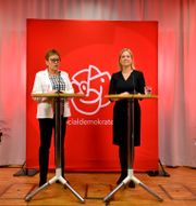 Valberedningens ordförande Elvy Söderström och Magdalena Andersson. Jessica Gow /TT / TT NYHETSBYRÅN