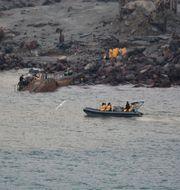 Räddningsinsatsen vid vulkanön White Island i december förra året.  TT NYHETSBYRÅN