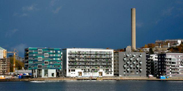 Nybyggda bostäder på Sickla Udde i Nacka. Hasse Holmberg / TT / TT NYHETSBYRÅN