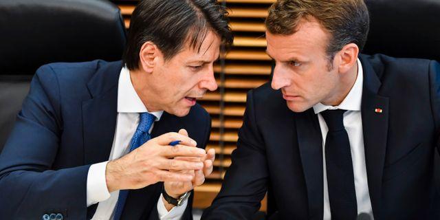 Conte och Macron vid EU-möte i somras. Geert Vanden Wijngaert / TT NYHETSBYRÅN/ NTB Scanpix