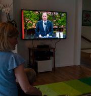 En familj ser på när Stefan Löfven nationaldagstalar från Skansen. Pontus Lundahl/TT / TT NYHETSBYRÅN