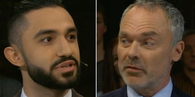Daniel Riazat (V) och Jan Björklund (L). Skärmdump från SVT