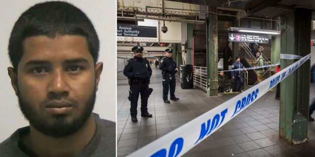 Akayed Ullah/Polis vid brottsplatsen i New York.  TT