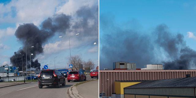 Det brinner i en industrilokal i centrala Kalmar och giftig rök sprider sig in över staden, enligt ett varningsmeddelande till allmänheten. TT