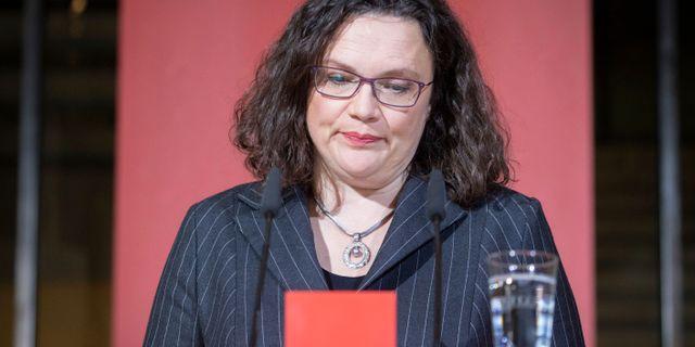 Andrea Nahles. Kay Nietfeld / TT NYHETSBYRÅN/ NTB Scanpix