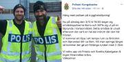 Områdespoliserna Stefan Olsson och Bernhard Sandberg är redo för polisjogg. Polisen på Facebook.