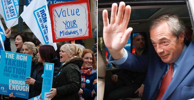Vänster, arkivbild: Brittiska sjuksköterskor protesterar mot nedskärningar. Höger: Nigel Farage efter brexit-segern. TT
