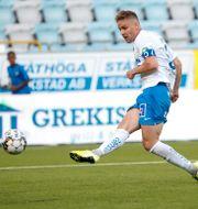 Norrköpings Christoffer Nyman gör 2-0. Stefan Jerrevång/TT / TT NYHETSBYRÅN