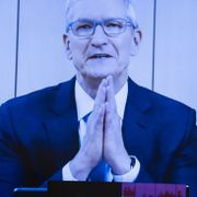 Apple CEO Tim Cook appearing on screen during a House Judiciary subcommittee hearing on July 29, 2020. Photographer: Graeme Jennings, Bloomberg