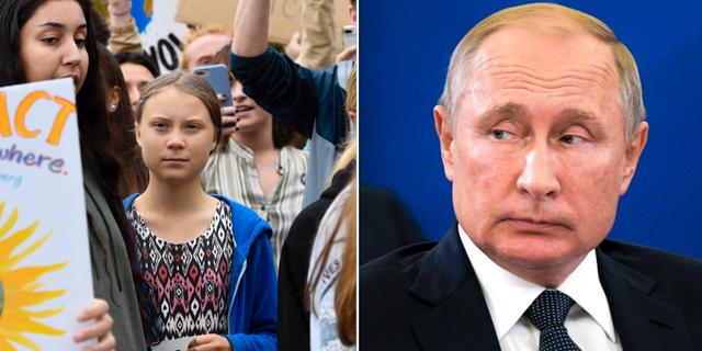 Greta Thunberg och Vladimir Putin. Arkivbilder. TT
