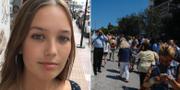 Sara Westling, samt människor som tagit sig ut på gatorna med anledning av skalvet. Privat, TT