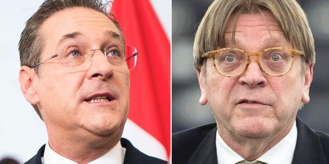 Heinz-Christian Strache och Guy Verhofstadt. TT