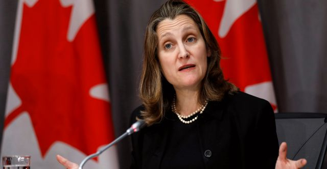Chrystia Freeland, Kanadas finansminister.  BLAIR GABLE / TT NYHETSBYRÅN