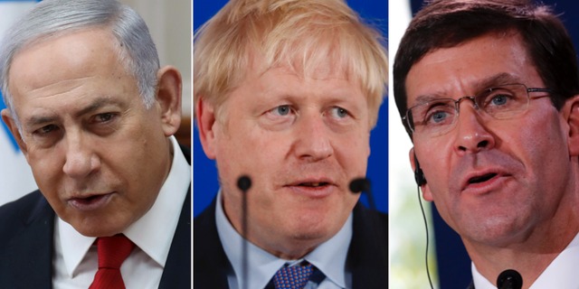 Benjamin Netanyahu, Boris Johnson och Mark Esper. Arkivbilder. TT