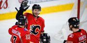 Calgarys Derek Ryan firar tillsammans med sina lagkamrater efter ett mål Jeff McIntosh / TT NYHETSBYRÅN