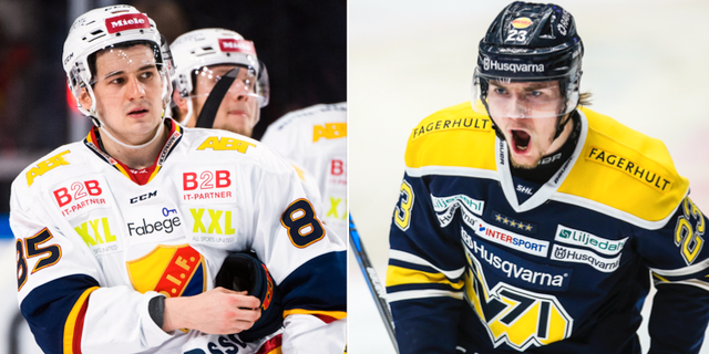 Djurgårdens Michael Haga och HV71:s Lias Andersson.  Bildbyrån.