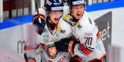 Elias Pettersson firar efter segermålet. Björn Lindgren/TT / TT NYHETSBYRÅN
