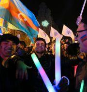 Anhängare till president Ilham Aliyev. Aziz Karimov / TT NYHETSBYRÅN