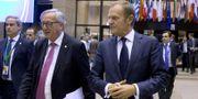 Jean-Claude Juncker och Donald Tusk. TT.
