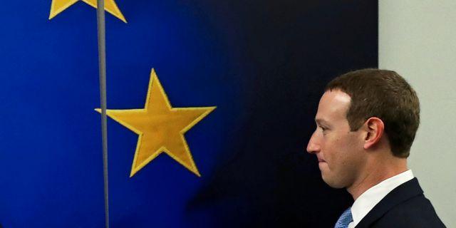 Mark Zuckerberg i Bryssel på måndagen YVES HERMAN / TT NYHETSBYRÅN