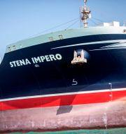 Stena Impero låg fortfarande för ankar i iranskt vatten på söndagen.  Wana News Agency / TT NYHETSBYRÅN