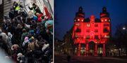 Flyktingar och LO-borgen. Arkivbilder. TT