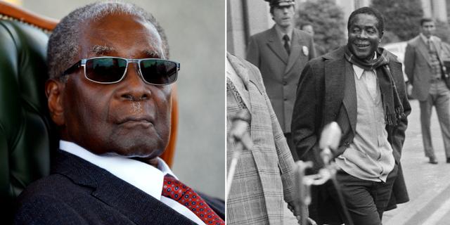 Bild på Robert Mugabe från 29 juli 2018 respektive 10 november 1976. TT/AP/Reuters