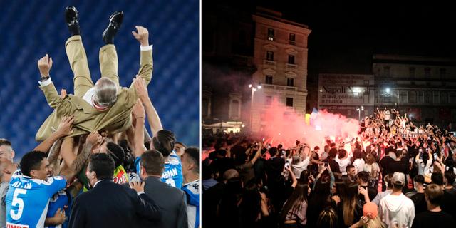 Fotbollslaget Napoli firar segern/Supportrar på Nepals gator.  TT