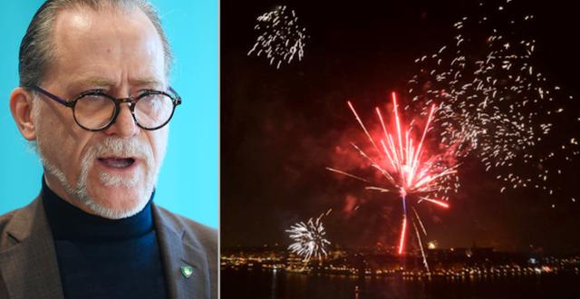 Daniel Helldén/fyrverkeriet vid Stockholms stadshus i måndags TT